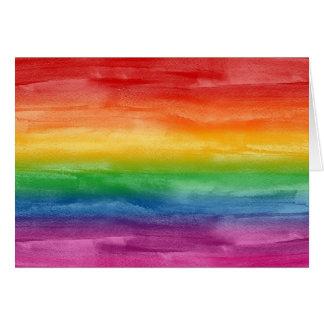 Tarjeta Rayas del arco iris de la acuarela