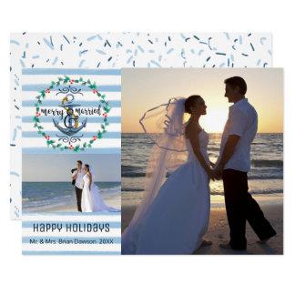 Tarjeta Rayas felices y casadas, azules náuticas, dos