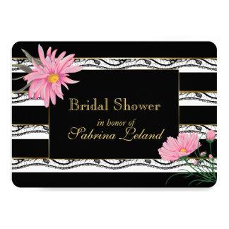 Tarjeta Rayas negras y ducha nupcial floral rosada del