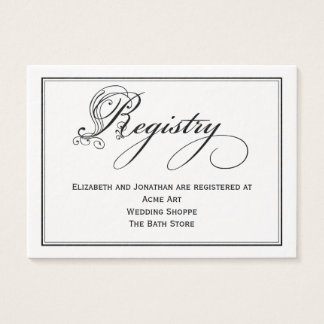 Tarjeta real blanco y negro del registro del boda