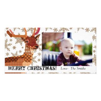 Tarjeta real de la foto del navidad de los copos d tarjetas fotograficas