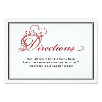 Tarjeta real roja de las direcciones del boda de