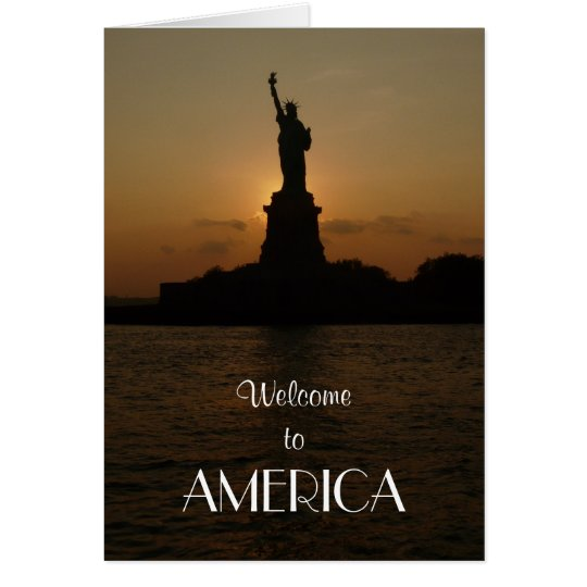 Tarjeta Recepción a América/a la estatua de la