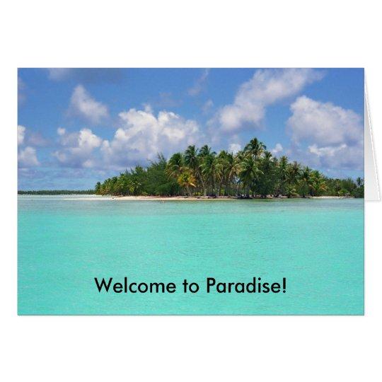 Tarjeta ¡Recepción al paraíso!