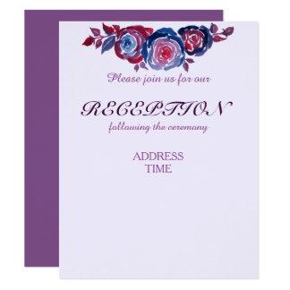 Tarjeta Recepción/dirección florales púrpuras del rojo de