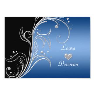 Tarjeta Recepción floral negra de plata azul de los