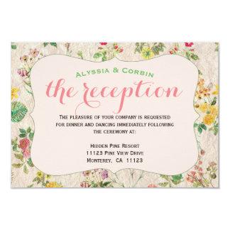 Tarjeta Recepción nupcial elegante rosada floral del