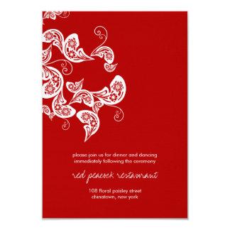 Tarjeta Recepción nupcial floral de la moda de Paisley del