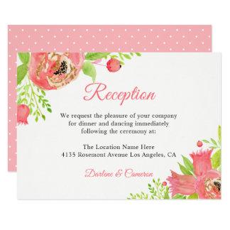 Tarjeta Recepción nupcial floral rosada coralina de la