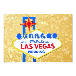 Tarjeta Recepción nupcial Las Vegas de RSVP de oro