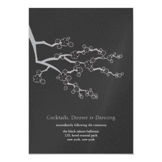 Tarjeta Recepción nupcial negra del zen de las flores de