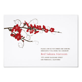 Tarjeta Recepción nupcial roja de Sakura de las flores de