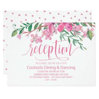Tarjeta Recepción nupcial rosada de los flores del amor de
