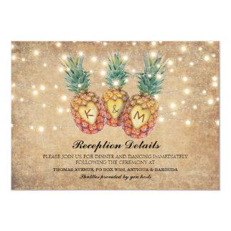 Tarjeta Recepción nupcial tropical de la piña exótica