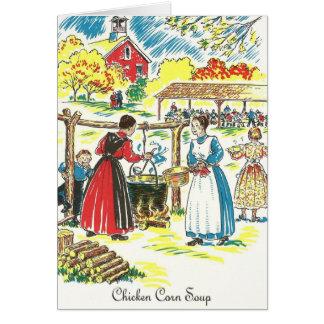 Tarjeta Receta de la sopa del maíz del pollo del dialecto