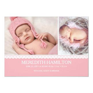 Tarjeta recién nacida de la foto del rosa de la
