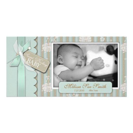 Tarjeta recién nacida de la foto tarjetas fotográficas personalizadas