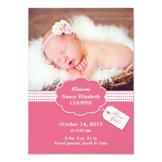 Tarjeta recién nacida de la invitación de la niña invitación 11,4 x 15,8 cm