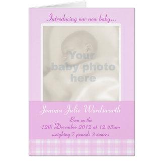 Tarjeta recién nacida del momento de la foto - con