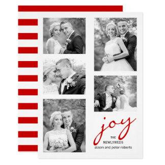 Tarjeta Recienes casados rojos de la alegría cinco navidad