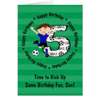 Tarjeta redonda de la meta del fútbol del 5to