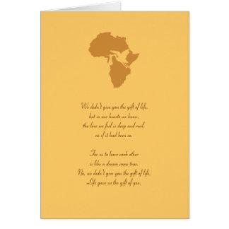 Tarjeta ¡Regalo africano de la adopción de usted poema -