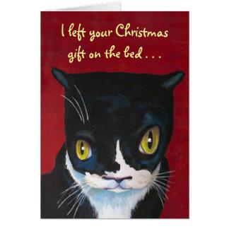 Tarjeta Regalo del navidad del gato