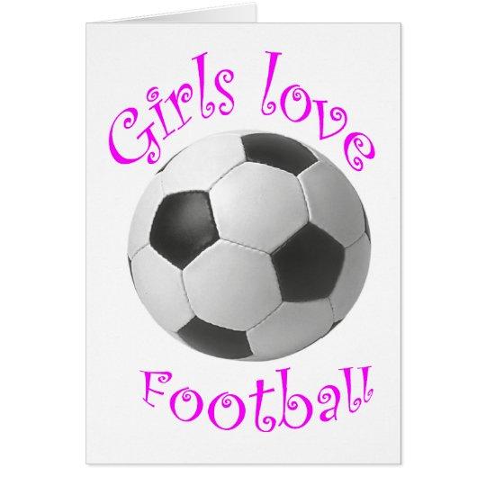 Tarjeta Regalos del arte del fútbol del amor de los chicas