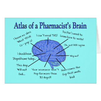 Tarjeta Regalos del cerebro del farmacéutico divertido