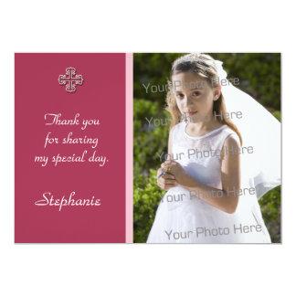 Tarjeta religiosa cruzada blanca rosada de la foto invitación 12,7 x 17,8 cm