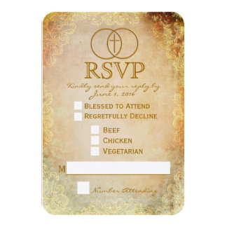 Tarjeta religiosa cruzada cercada de RSVP que se Invitación 8,9 X 12,7 Cm