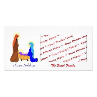Tarjeta religiosa de la foto de la natividad del n tarjetas fotográficas personalizadas