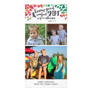 Tarjeta religiosa de la foto del navidad del 1:17 tarjetas personales con fotos