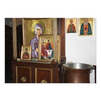 Tarjeta religiosa de los iconos comunicado