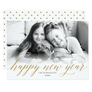 Tarjeta reluciente de la foto del Año Nuevo en Invitación 12,7 X 17,8 Cm