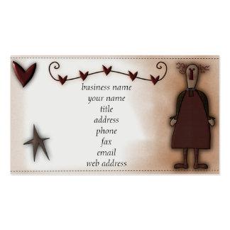 Tarjeta remilgada del perfil de la muñeca w/Hearts Plantillas De Tarjetas Personales