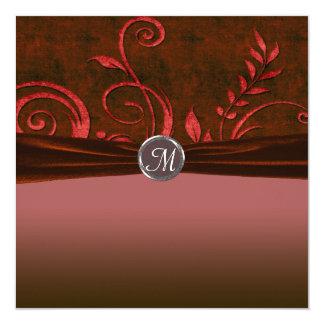 Tarjeta Remolino de rubíes y rojo del boda del terciopelo