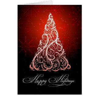 Tarjeta Remolinos del árbol de navidad de PixDezines/rojo