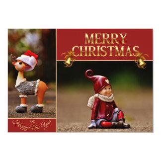 Tarjeta reno del navidad - ayudante de Santa - gnomo