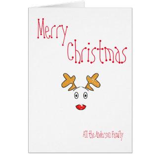 Tarjeta Reno rojo de la nariz de Rudolph del navidad
