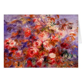Tarjeta Renoir: Rosas por la ventana