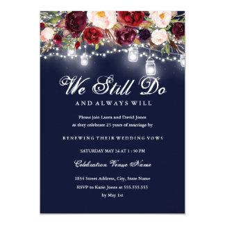 Tarjeta Renovación floral del voto de boda de las luces de