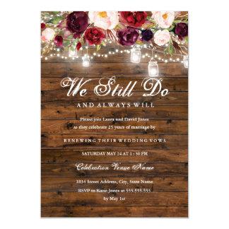Tarjeta Renovación floral rústica del voto de boda de las