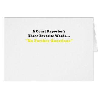 Tarjeta Reporteros de una corte tres palabras preferidas