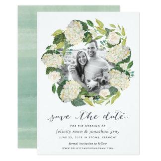 Tarjeta Reserva blanca de la foto del Hydrangea el   la
