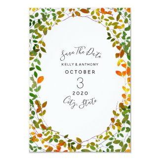 Tarjeta Reserva botánica del boda del otoño temprano la