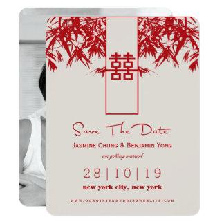 Tarjeta Reserva china del boda del zen de bambú moderno la
