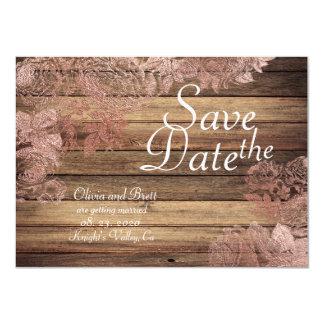 Tarjeta Reserva color de rosa rústica selvática del boda