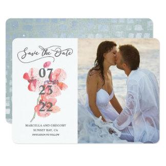 Tarjeta Reserva de la foto del boda de playa del flor de