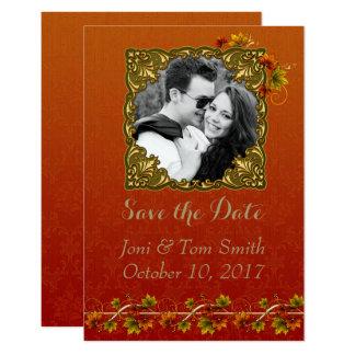 Tarjeta Reserva de la foto del otoño la fecha